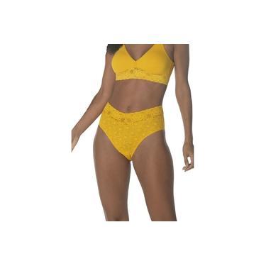 Calcinha Calça Cavada Buquê DeMillus 56066 Amarelo Ouro