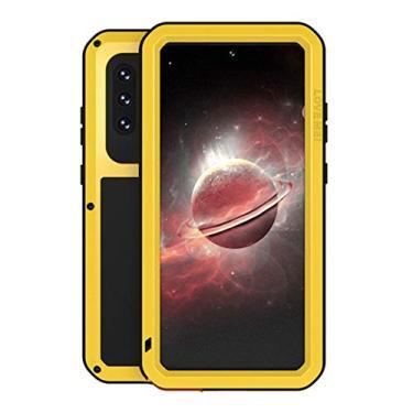 """SHUNDA Capa para Samsung Galaxy A72 5G, capa protetora de alumínio resistente à prova de água, à prova de poeira, à prova de choque, capa rígida de metal para Samsung Galaxy A72 5G 6,5"""" - amarela"""