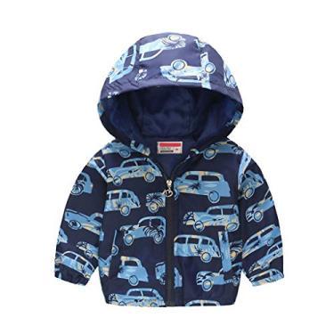 Jaqueta infantil para meninos e meninas impermeável com capuz e estampa de desenho animado de manga comprida, casaco leve com capuz para crianças corta-vento, 13, 4-5T