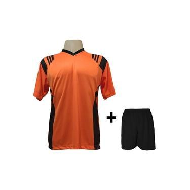 Uniforme Esportivo com 18 camisas modelo Roma Laranja/Preto + 18 calções modelo Madrid + 1 Goleiro +