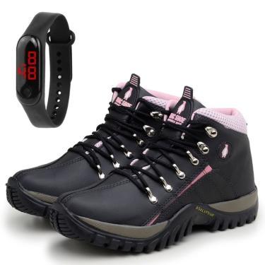 Imagem de Bota Feminina Coturno Adventure Trekking Preto/Rosa com Relógio  feminino