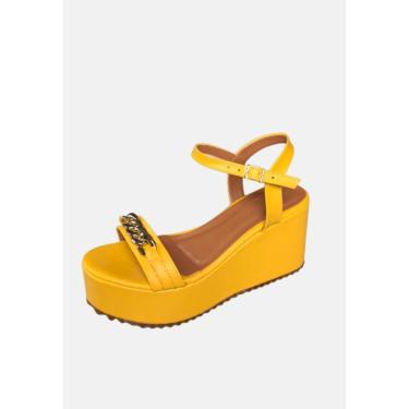 Imagem de Sandália Plataforma Flatform Amarelo Giovanna da Mata Corrente  feminino