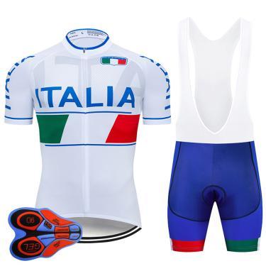 Equipe italia pro ciclismo jérsei 9d gel conjunto homem branco ciclismo wear roupas de bicicleta 243653313