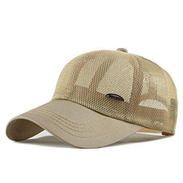 Beerty Boné de beisebol, chapéu de sol ajustável de malha ajustável respirável para homens e mulheres, Caqui, app.55-60cm/21.65-23.62in