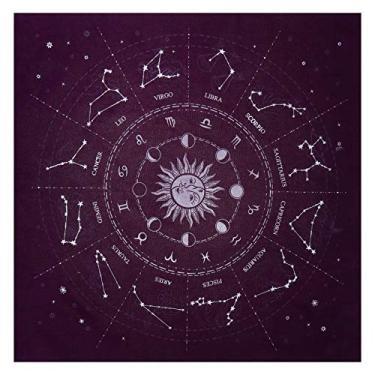 Imagem de Toalha de mesa NUOBESTY Altar Cartão Tarot Toalha de mesa 12 Constelações Toalha de Mesa Astrologia Tarô Cartões de Avinhação Toalha de Mesa Tapeçaria Roxo
