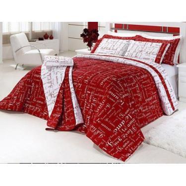 Imagem de Kit Edredom Casal Queen Te Amo 5 Pçs 150 Fios Vermelho - Vilela Enxova