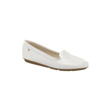 Imagem de Sapato Feminino Mocassim Piccadilly 109018 Bico Quadrado Rasteira Branco