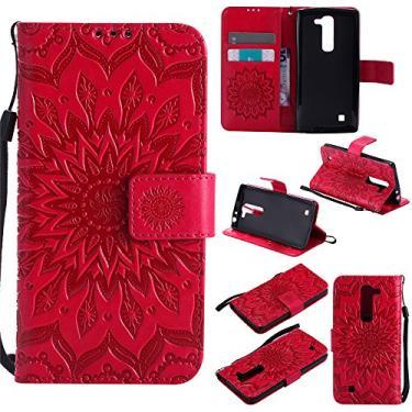 Capa carteira XYX para LG Volt 2, [Sun Flower] Couro PU premium fecho magnético TPU bumper capa slim fit para LG Volt 2/LG Magna/LG G4 Mini/LG G4C, vermelha