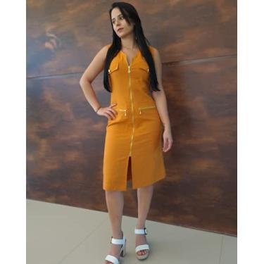Imagem de Vestido de Linho Yasmim Midi Amarelo Mostarda com Zíperes e Botões Dourados Tamanho:G