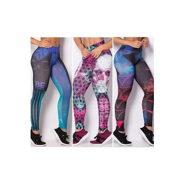 Imagem de Kit C/ 05 Calças Legging Cós Alto Fitness - Roupas de Academia Promoção