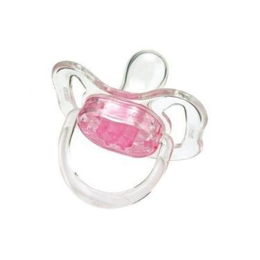 Chupeta Com Bico Silicone Cristal 02 Rosa Kuka