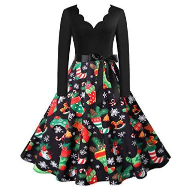 ZEFOTIM Vestido de Halloween Natal 2020, vestido feminino vintage de manga comprida anos 50 para dona de casa para festa noturna, Christmas#15, X-Large