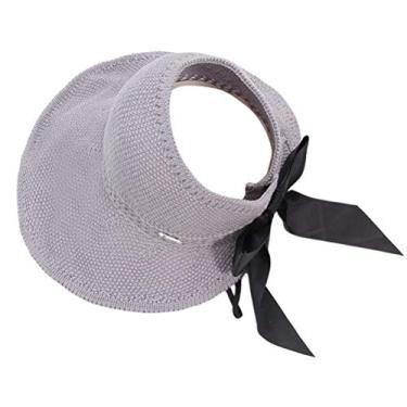 SOIMISS 1 peça de malha vazia chapéu de verão protetor solar chapéu protetor solar portátil chapéu de aba larga criativo Bowknot protetor solar chapéu de palha para mulheres de praia (cinza)