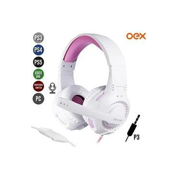 Imagem de Headphone Headset Gamer c/ Microfone Gorky Branco/Rosa OEX