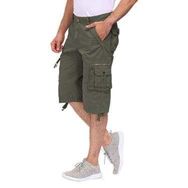 DOBOLY Short cargo masculino com cintura elástica, shorts para caminhada, bolsos com zíper, Verde militar, 40