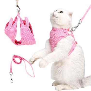 Dorakitten Conjunto de coleira de arnês para gato reversível criativo colete colete peitoral colete gato caminhada jaqueta