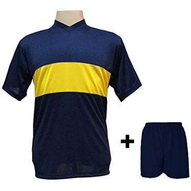 Imagem de Uniforme Esportivo com 14 camisas modelo Boca Juniors Marinho/Amarelo + 14 calções modelo Madrid + 1 Goleiro + Brindes