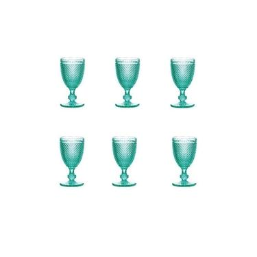 Jogo 6 Taças De Vidro Para Vinho 235ml - Bico De Jaca Turquesa - Bon Gourmet - R25890