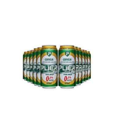 Cerveja sem álcool Malzbier Zero - Plier - Lata 473ml - Nacional - 12 ud