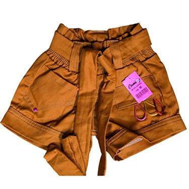 Shorts Feminino Sarja Infantil Tamanho:M 3-4;Cor:Dourado