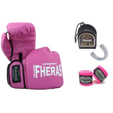 Kit Boxe Muay Thai Fheras Luva Bandagem Bucal 10Oz Rosa