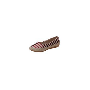 Sapatos femininos de salto plano listrado raso retrô de pano sapato casual para ervilhas respiráveis