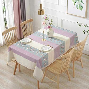 Imagem de Toalha de mesa de cozinha retangular toalha de mesa de jardim listrada flor renda toalha de mesa algodão linho, roxa, 140 x 250 cm