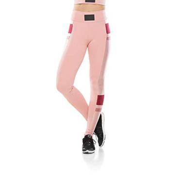 Calça Legging Fitness Perna Color Block - Nude Rosê - G