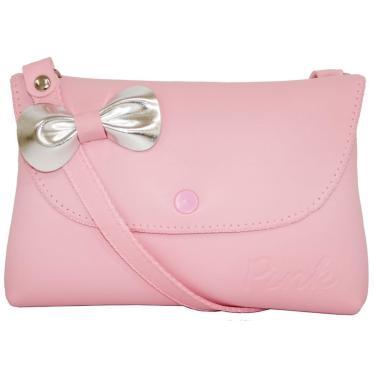 def1d4a42 Bolsa Infantil Princesa Pink Sintética Rosa Com Laço Prata Aplicado Mini  Carteira Rosa menina