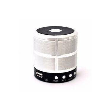 Mini Caixa De Som Portátil Bluetooth Ws-887 Com Rádio Fm - Prata