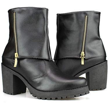 Bota Feminina Cano Medio Preta Tratorada Fecho Eclair Ankle Boot