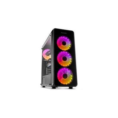 Gabinete Gamer NOX Hummer TGM, RGB Rainbow, 4 Coolers, Lateral e Frontal em Vidro - NXHUMMERTGM