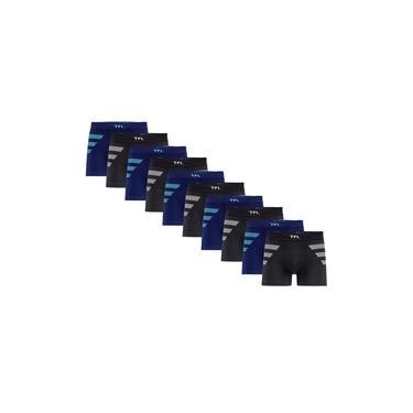 Kit Com 10 Cuecas Boxer Microfibra Listras Trifil CE0642