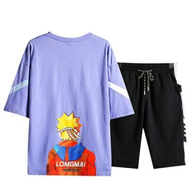 Camiseta e short Naruto masculina Naruto Camisetas e calça Anime Sportswear Conjuntos Naruto Tops e calças de moletom Manga (Roxo, 2GG)