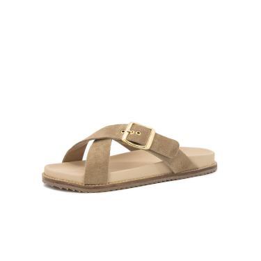 Imagem de Sandalia Birken Rasteira Flat em Couro Areia Kuento Shoes  feminino