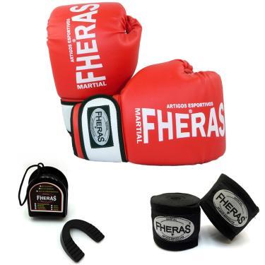 Kit Boxe Muay Thai Orion -Luva Bandagem Bucal 14 OZ