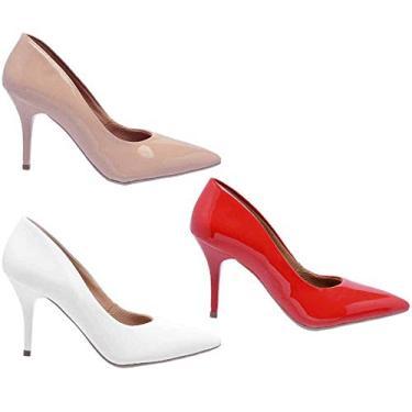 Kit 3 Pares Scarpin Casual Feminino Ellas Online Nude e Vermelho e Branco