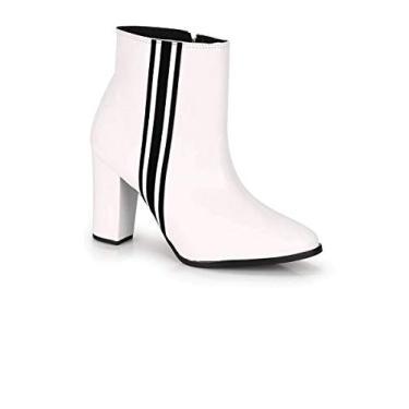 Bota Feminina Beira Rio Ankle Boot Verniz Branco/Preto 9043.120 Branco 36