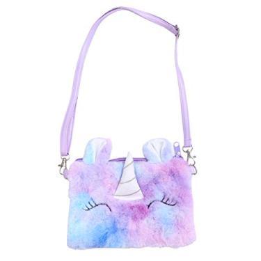 KESYOO Bolsa transversal pequena de unicórnio de pelúcia para celular com desenho arco-íris bolsa de ombro para crianças e meninas, Violeta, 18x13x1cm