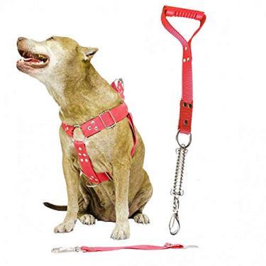 Imagem de Coleira Peitoral Guia Cinto Segurança Cachorro Doberman Pitbull Anti Puxao - M Vermelho