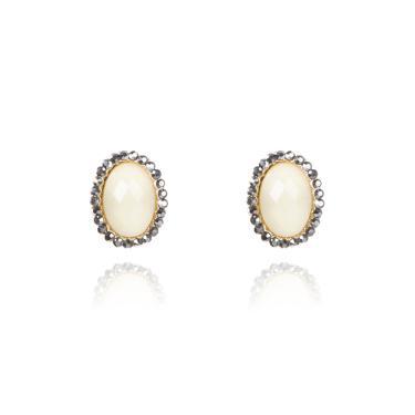 Imagem de Brinco pequeno oval dourado Off white