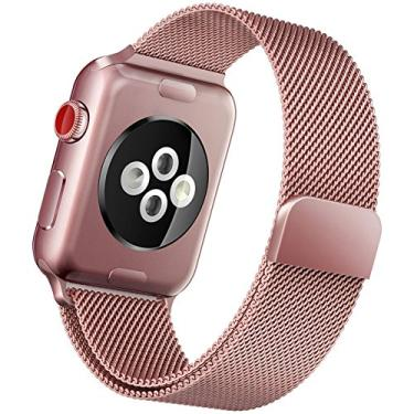 Pulseira Milanese Rose Gold Para Apple Watch 42mm Aço Inox