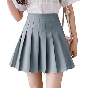 Saia feminina plissada, minissaia skatista, cintura alta, saia evasê skorts uniforme escolar com shorts, Cinza, 4
