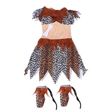Imagem de Luoem Fantasia indiana feminina de Halloween para o dia das bruxas fantasias indianas fantasia selvagem adulto de leopardo