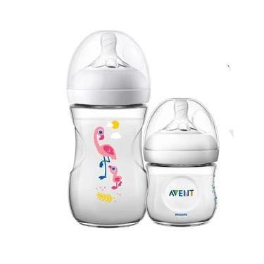 Imagem de Kit 2 Mamadeira Bebê Anticolica 125/260ml 1m+ Bico Ultra Suave Flexivel Pétala Philips Avent Flamingo Neutro