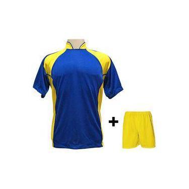 4043dae4dc Uniforme Esportivo Com 14 Camisas Modelo Suécia Royal amarelo + 14 Calções  Modelo Madrid +