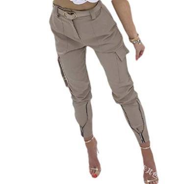 Calça cargo feminina UUYUK com bolsos de algodão elástico e calça cargo plus size, Caqui, Large