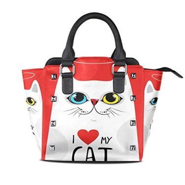 Bolsa feminina com alça superior I Love My Cat branca vermelha de couro PU bolsa tiracolo