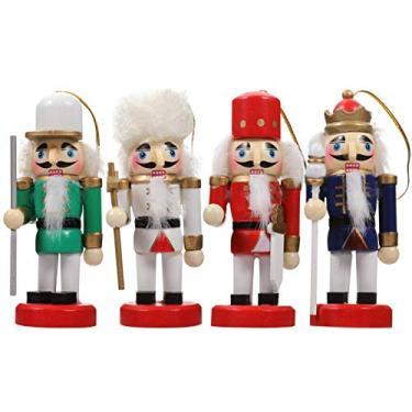 KESYOO Enfeite de Natal Quebra-Nozes Enfeite de Natal de Madeira Quebra-Nozes Soldado Enfeite Decoração Natal Bonecos Bonecos Brinquedo Decoração de Festa Em Casa 4 Unidades