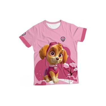 Camiseta Infantil Skye Patrulha Canina Rosa MC